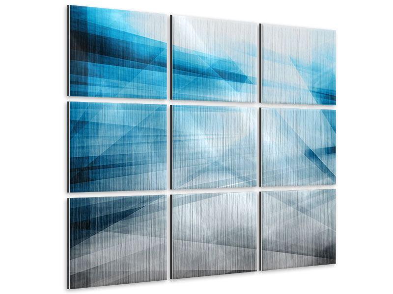 Metallic-Bild 9-teilig Abstrakte Lichtshow