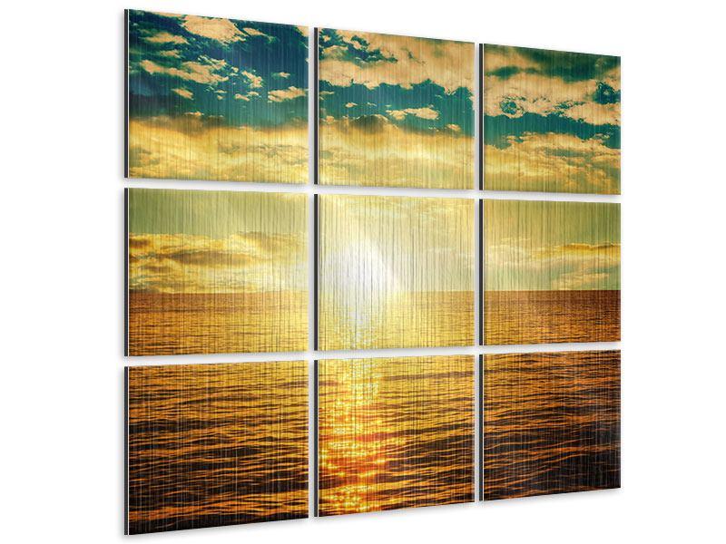 Metallic-Bild 9-teilig Sonnenuntergang am Meereshorizont