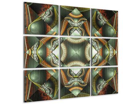 Metallic-Bild 9-teilig Fraktales Bild