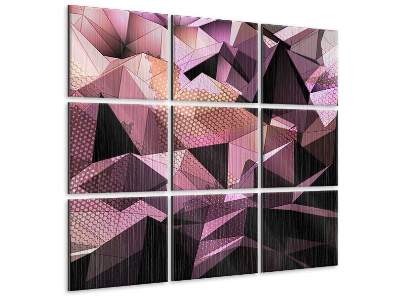 Metallic-Bild 9-teilig 3D-Kristallstruktur