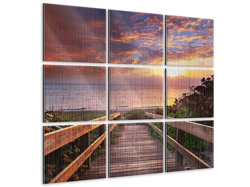 Metallic-Bild 9-teilig Sonnenuntergang