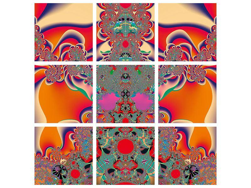Metallic-Bild 9-teilig Psychedelische Kunst
