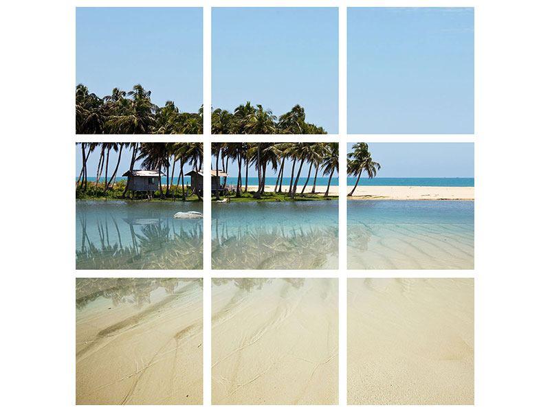 Metallic-Bild 9-teilig Das Meer und die Insel