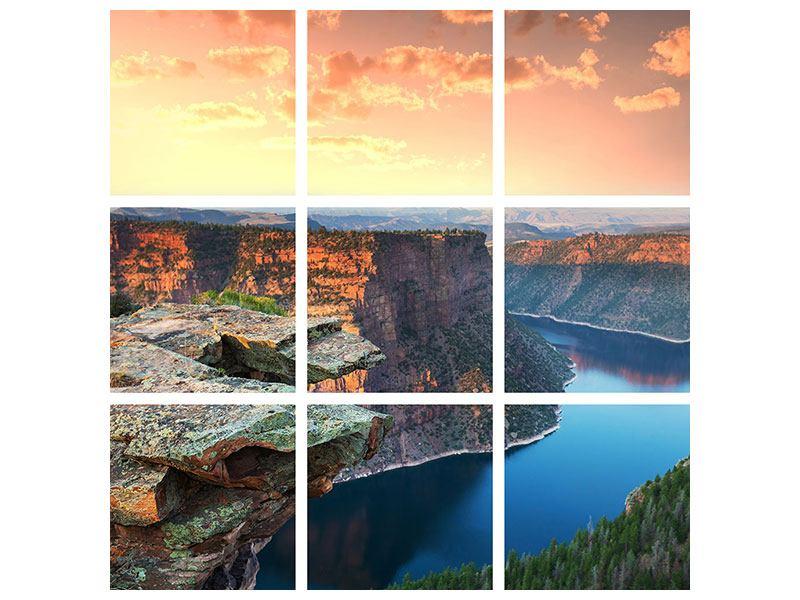 Metallic-Bild 9-teilig Sonnenuntergang Rocky Mountains