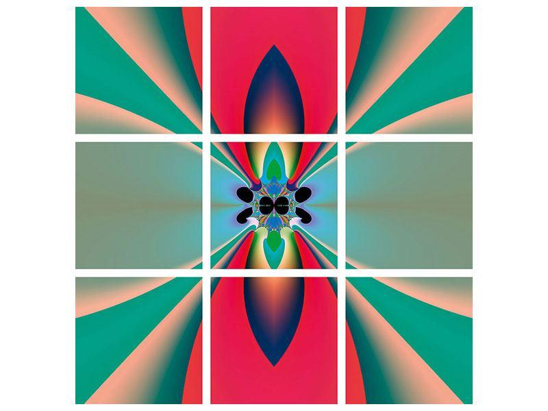 Metallic-Bild 9-teilig Psychedelic Art