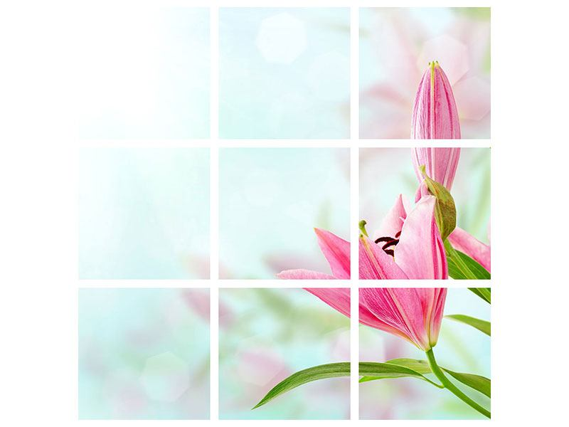 Metallic-Bild 9-teilig Romantische Lilien