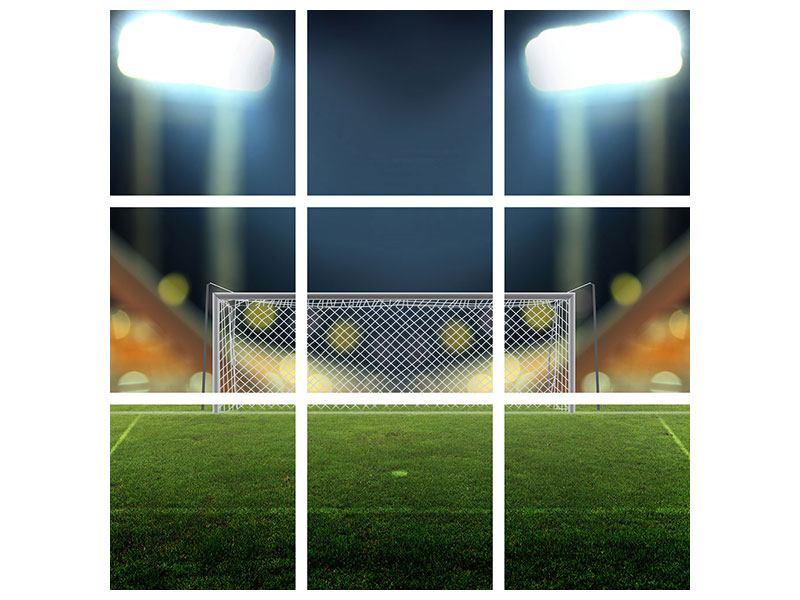 Metallic-Bild 9-teilig Fussballtor