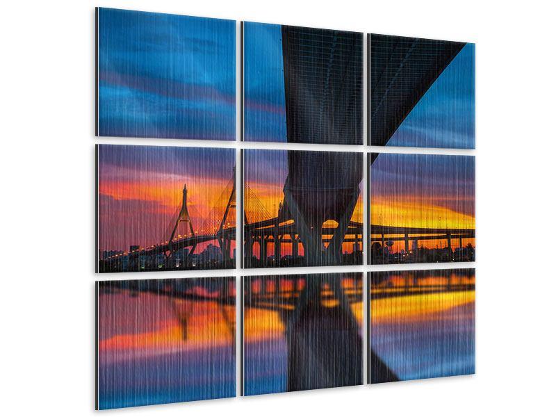 Metallic-Bild 9-teilig Bhumiboll-Brücke bei Sonnenuntergang