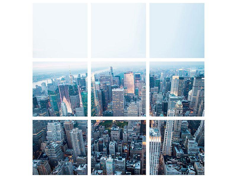 Metallic-Bild 9-teilig Skyline Manhattan in der Abenddämmerung