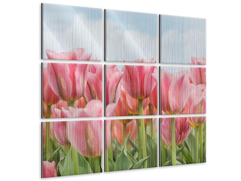 Metallic-Bild 9-teilig Zarte Tulpen