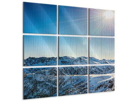 Metallic-Bild 9-teilig Berge im Schnee