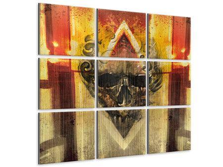 Metallic-Bild 9-teilig Kunstvoller Totenkopf