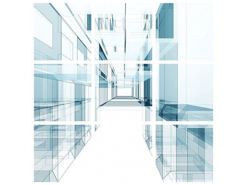Metallic-Bild 9-teilig Raum der Räume