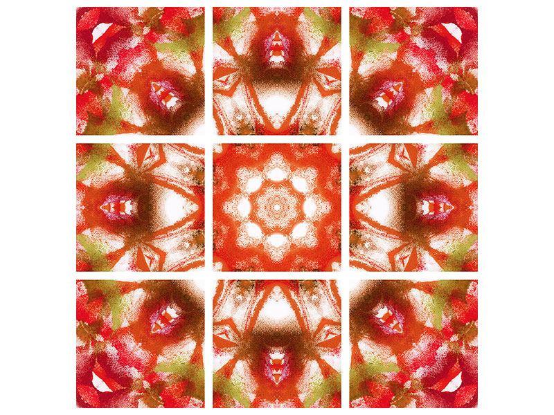 Metallic-Bild 9-teilig Geometrisches Gemälde