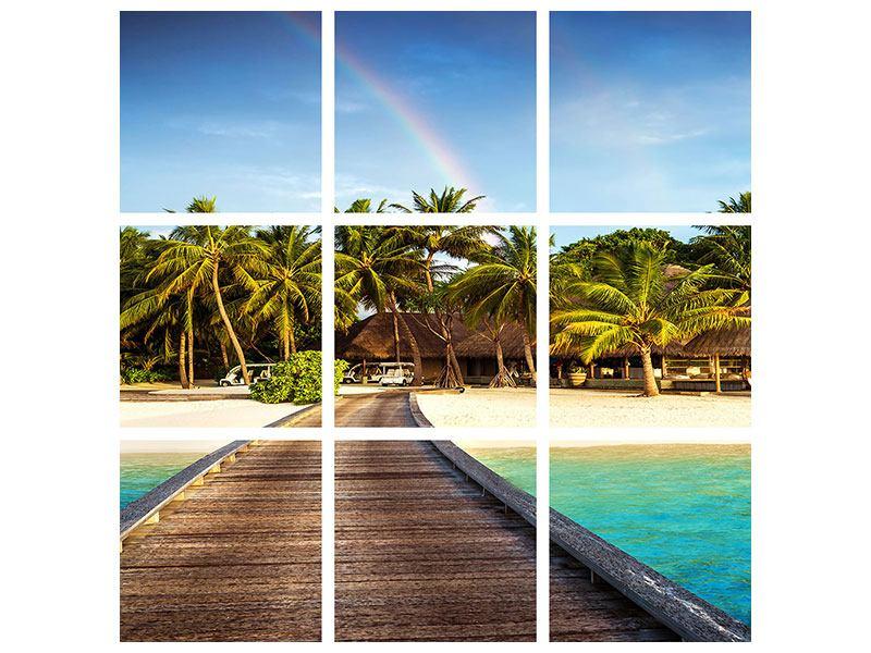 Metallic-Bild 9-teilig Inselparadies