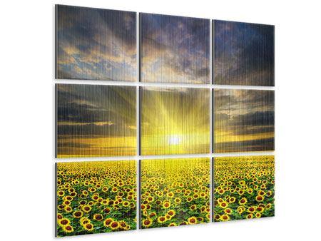 Metallic-Bild 9-teilig Abenddämmerung bei den Sonnenblumen