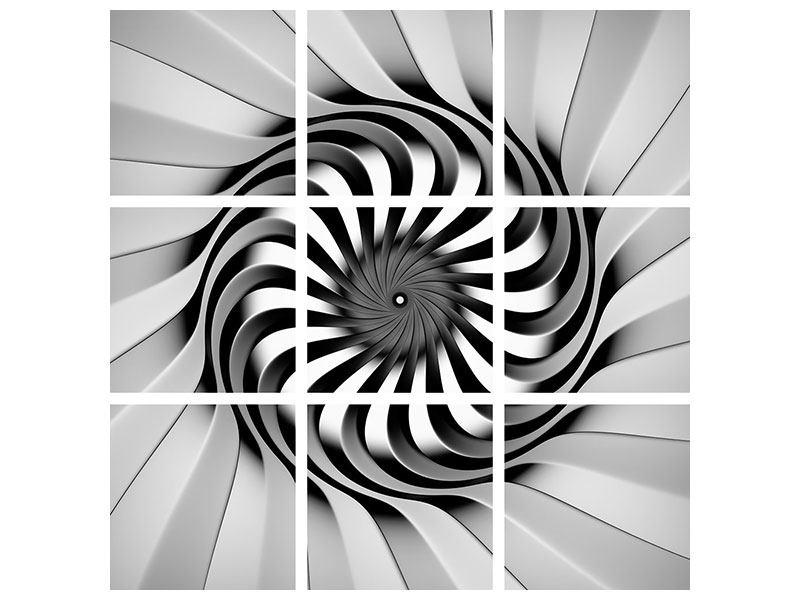 Metallic-Bild 9-teilig Abstrakte Spirale