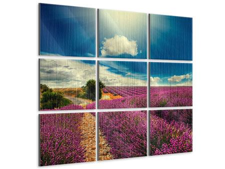 Metallic-Bild 9-teilig Das Lavendeltal