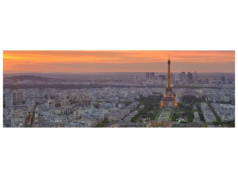 Poster Panorama Skyline Paris bei Sonnenuntergang