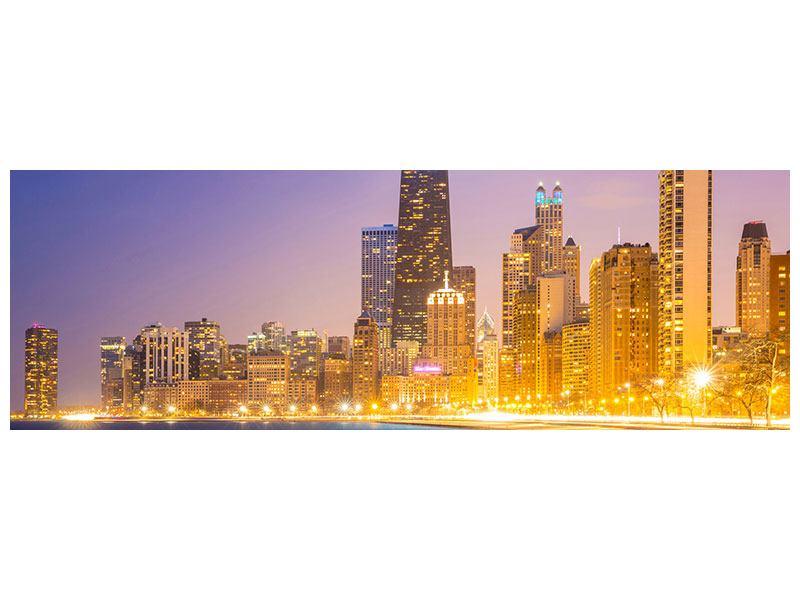 Poster Panorama Skyline Chicago in der Nacht