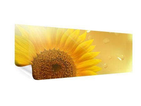Poster Panorama Sonnenblume im Morgentau