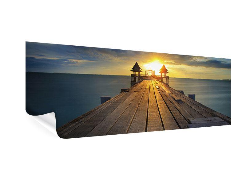 Poster Panorama Der Sonnenuntergang bei der Holzbrücke