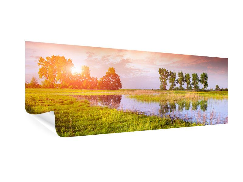 Poster Panorama Sonnenuntergang am See