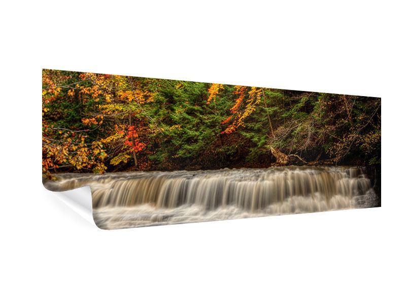 Poster Panorama Herbst beim Wasserfall