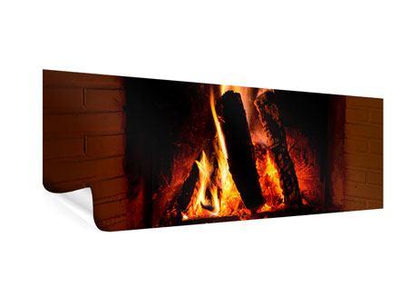 Poster Panorama Feuer im Kamin