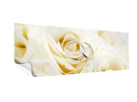 Poster Panorama Trauringe auf Rosen gebettet
