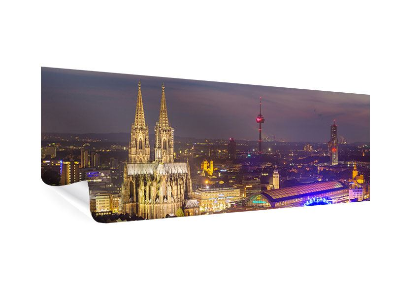 Poster Panorama Skyline Kölner Dom bei Nacht