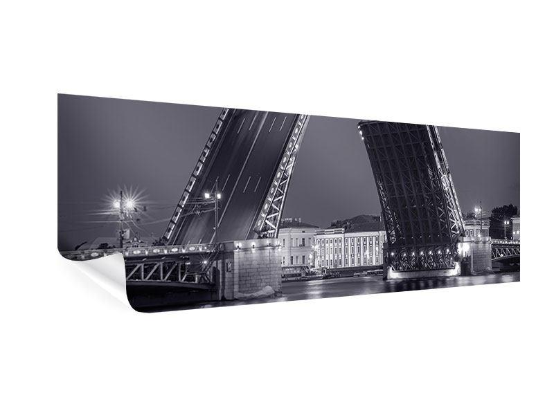 Poster Panorama Klappbrücke bei Nacht