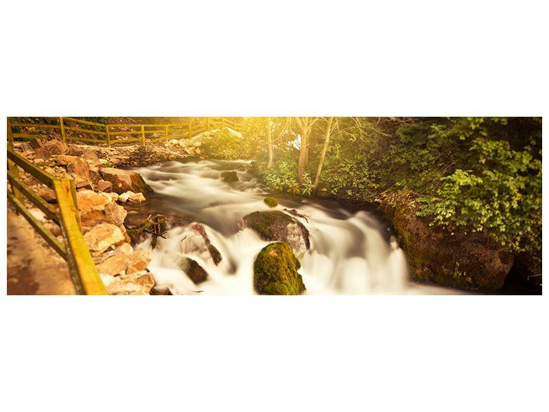Poster Panorama Sonnenuntergang am Wasserfall