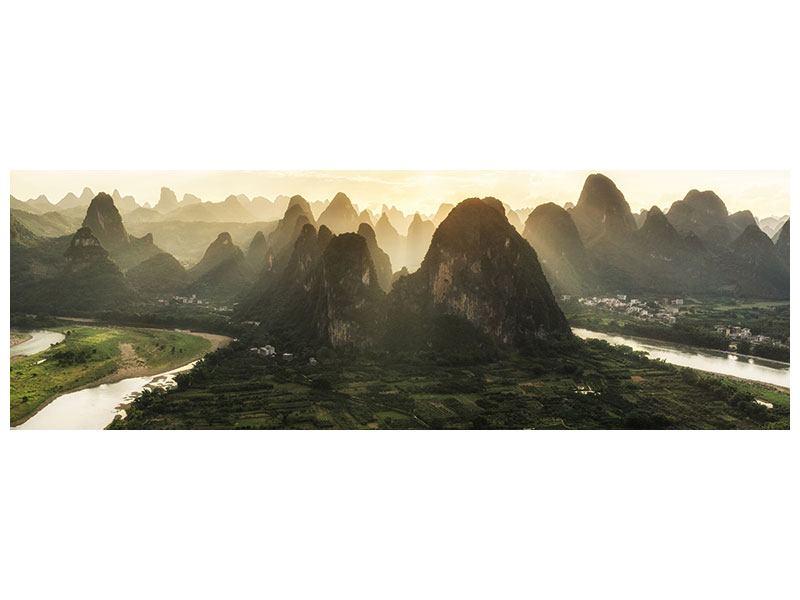 Poster Panorama Die Berge von Xingping