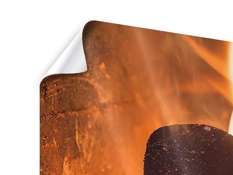 Poster Panorama Kaminfeuer