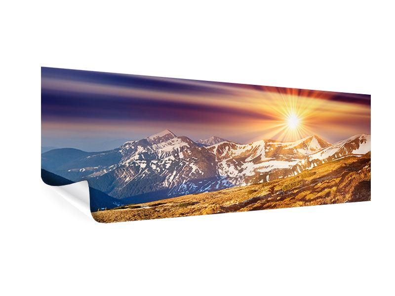 Poster Panorama Majestätischer Sonnuntergang am Berggipfel