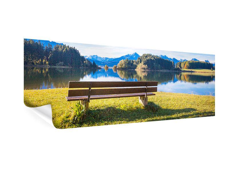 Poster Panorama Sitzbank mit Bergpanorama