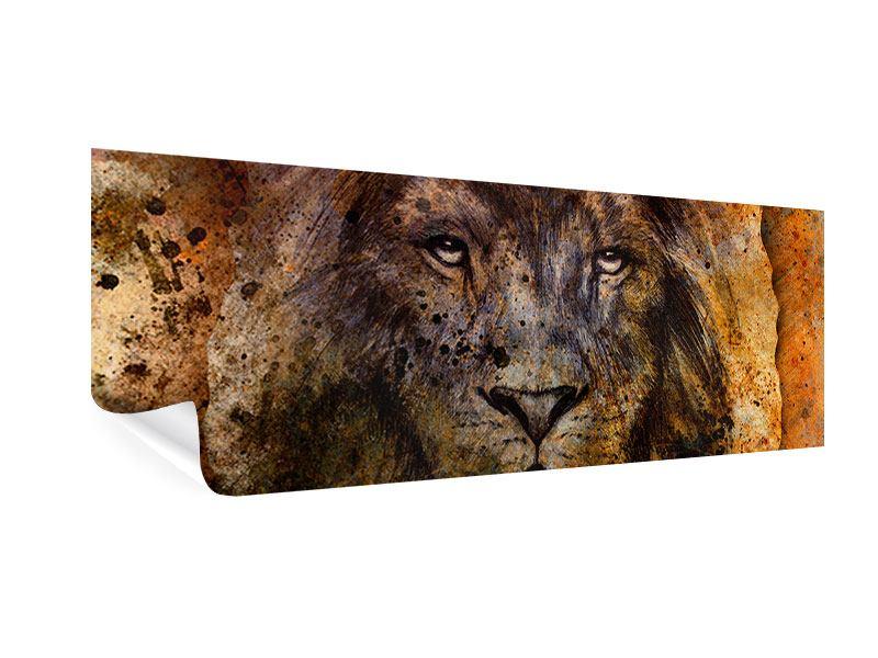 Poster Panorama Portrait eines Löwen
