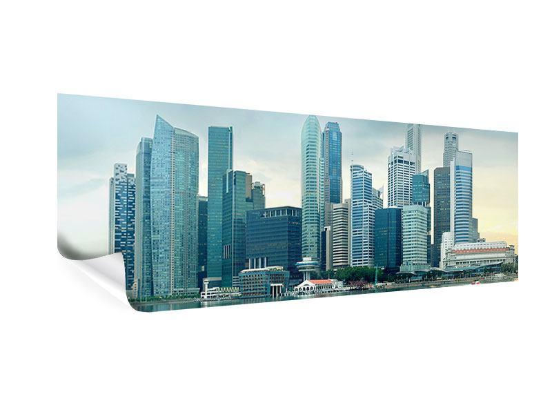 Poster Panorama Skyline Sonnenaufgang in Singapur