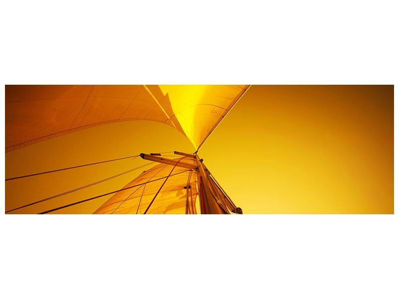 Poster Panorama Segelboot im Sonnenuntergang