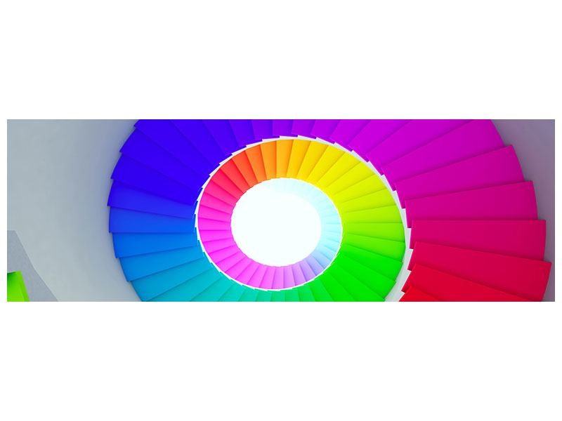 Poster Panorama Bunte Wendeltreppe 3D