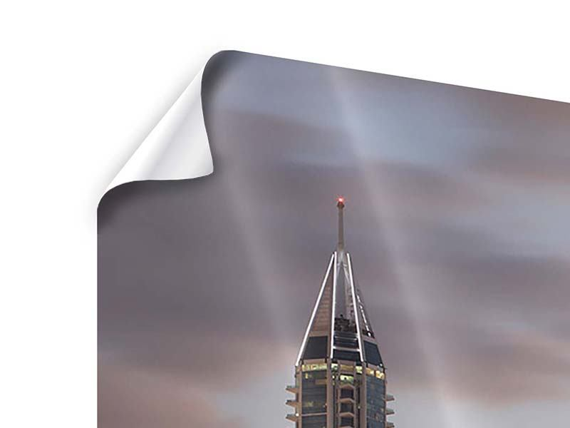 Poster Panorama Skyline Dubai bei Sonnenuntergang