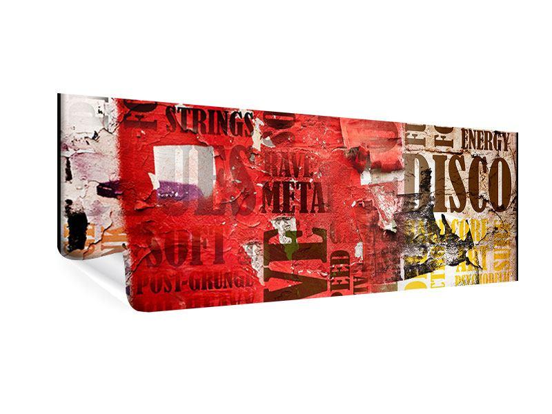 Poster Panorama Musiktext im Grungestil