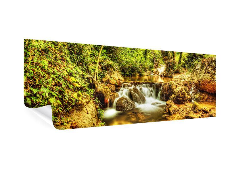 Poster Panorama Wasserfall im Wald