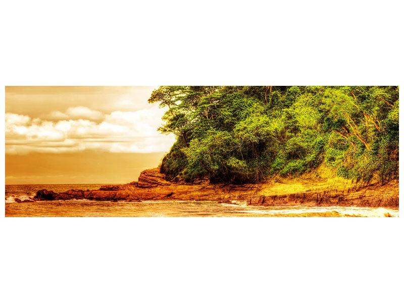 Poster Panorama Sonnenuntergang am Ende des Waldes