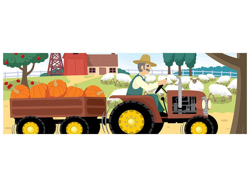 Poster Panorama Bauernhof