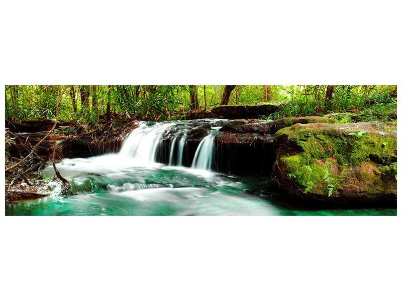 Poster Panorama Der Fluss am Wasserfall