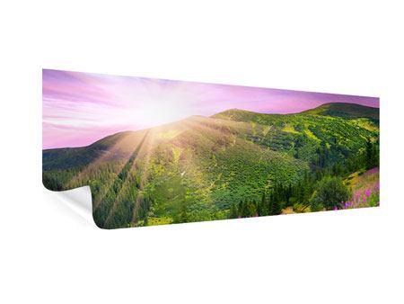 Poster Panorama Eine Sommerlandschaft bei Sonnenaufgang