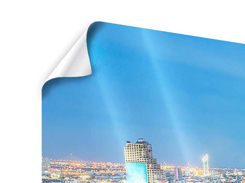 Poster Panorama Skyline Bangkok bei Sonnenuntergang