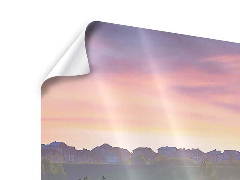 Poster Panorama Sonnenuntergang am Hügel